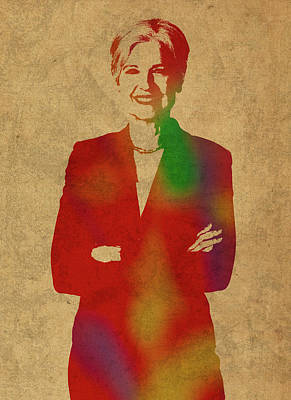 Jill Stein Green Party Political Figure Watercolor Portrait Poster by Design Turnpike