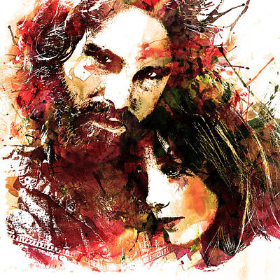Jim And Pam In Watercolor Poster by Marian Voicu