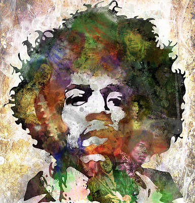 Gypsy Poster featuring the painting Jimi Hendrix by Bobby Zeik