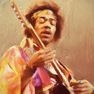 Jimi Jamming Poster by Dan Sproul