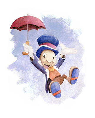 Jiminy Cricket With Umbrella Poster by Andrew Fling