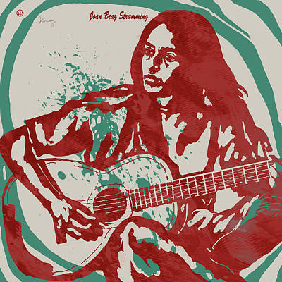 Joan Baez Strumming Pop Stylised Art Sketch Poster Poster by Kim Wang