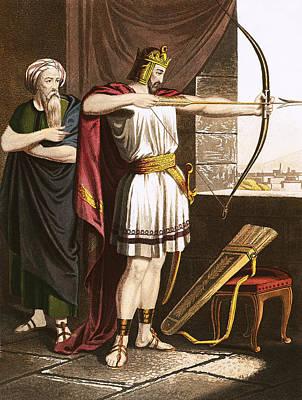 Joash Shooting Arrows At The Command Of Elisha Poster by English School