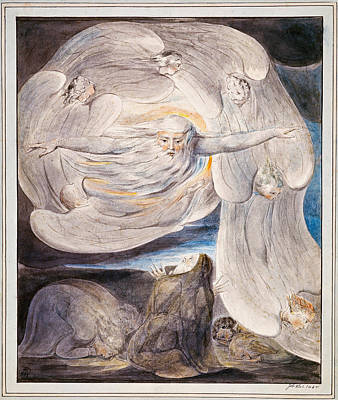 Job Confessing His Presumption To God Who Answers From The Whirlwind Poster by William Blake