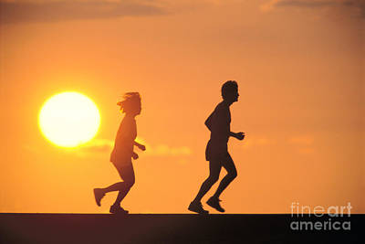 Jogging At Sunset Poster by Joe Carini - Printscapes