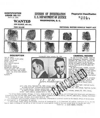 John Dillinger Public Enemy #1 Wanted Poster Poster by Art Kurgin