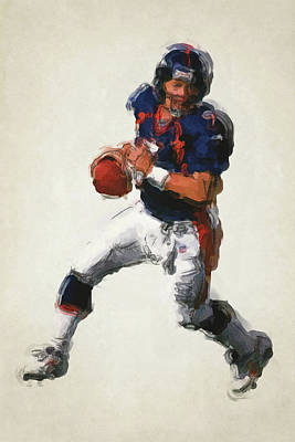 John Elway Denver Broncos Art 2 Poster by Joe Hamilton