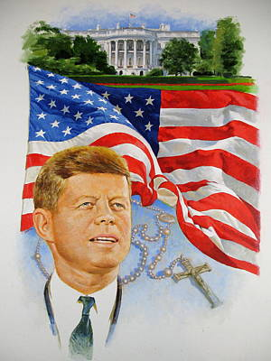 John Kennedy Catholic Poster by Cliff Spohn