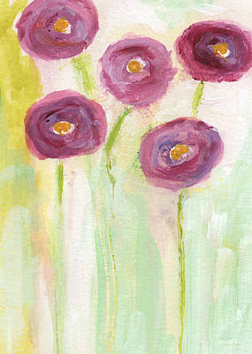 Joyful Poppies- Abstract Floral Art Poster by Linda Woods
