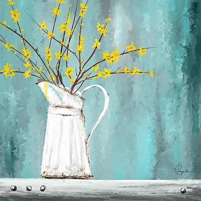 Joys Of Bloom - Forsythia Art Poster by Lourry Legarde