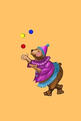 Juggling Bear  Poster by David Michael  Schmidt