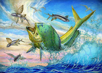 Jumping Mahi Mahi And Flyingfish Poster by Terry Fox
