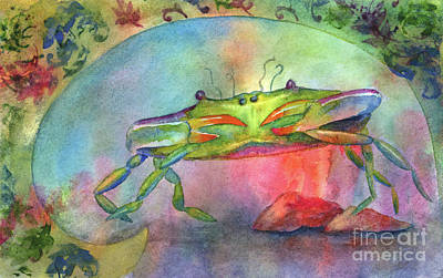 Just A Little Crabby Poster by Amy Kirkpatrick
