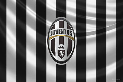 Juventus F. C. - 3 D Badge Over Flag Poster by Serge Averbukh