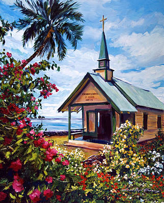 kahaalu Church Hawaii Poster by David Lloyd Glover