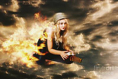 Kamakazi Pin-up Girl On Atomic Bomb Poster by Jorgo Photography - Wall Art Gallery