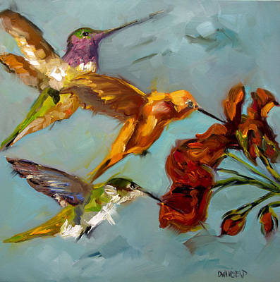 Kathy's Humming Birds Poster by Diane Whitehead