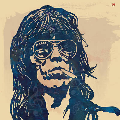 Keith Richards Pop Stylised Art Sketch Poster Poster by Kim Wang