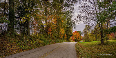 Kentucky County Lane In Fall Poster by Wendell Thompson