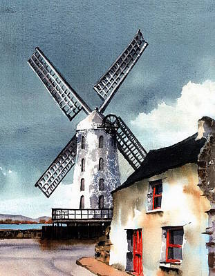 Kerry Windmill At Blennerville Poster by Val Byrne