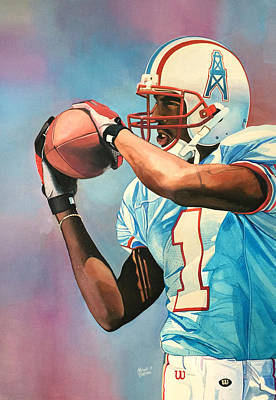 Kevin Dyson - Houston Oilers Poster by Michael  Pattison