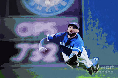 Kevin Pillar In Action Poster by Nina Silver