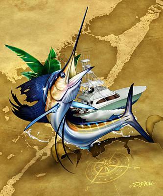 Key Largo Sailfish Poster by Dennis Friel