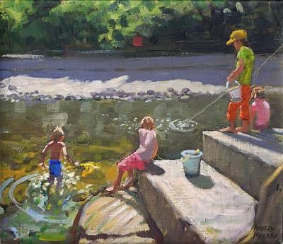 Kids Fishing   Looe   Cornwall Poster by Andrew Macara