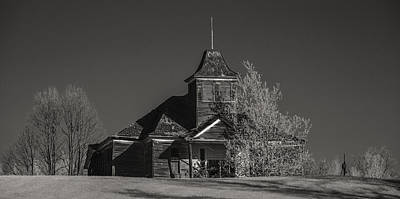 Kimberly School House Black And White Poster by Paul Freidlund