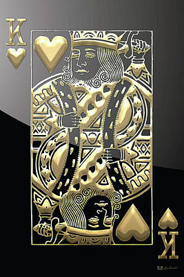King Of Hearts In Gold On Black Poster by Serge Averbukh