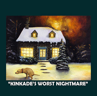 Kinkade's Worst Nightmare With Lettering Poster by Leah Saulnier The Painting Maniac