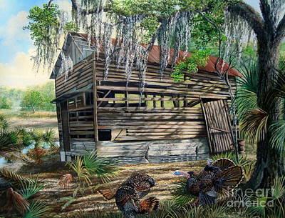 Kissimmee River Cattle House-osceola Morning Poster by Daniel Butler