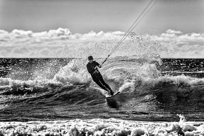Kite Surfer In Monochrome  #1 Poster by Russ Dixon