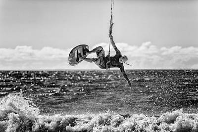 Kite Surfer In Monochrome  #3 Poster by Russ Dixon