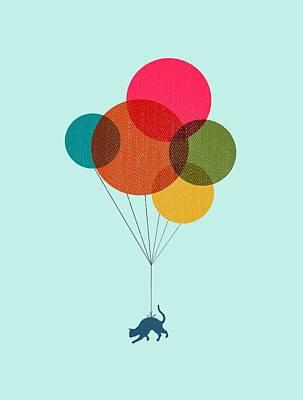 Kitten Baloon Trip Poster by Illustratorial Pulse