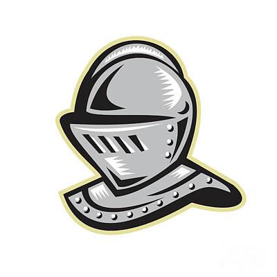 Knight Helmet Woodcut Poster by Aloysius Patrimonio