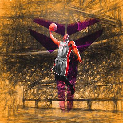 Kobe Bryant Black Mamba Digital Painting Poster by David Haskett