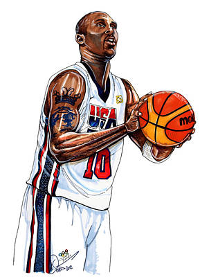 Kobe Bryant Men's Usa Basketball Poster by Dave Olsen