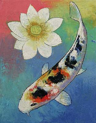 Koi And White Lotus Poster by Michael Creese