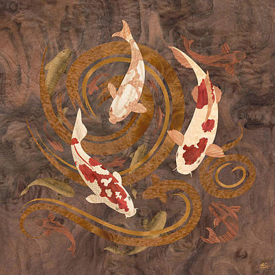 Koi Fish Wood Art Poster by Vincent Doan