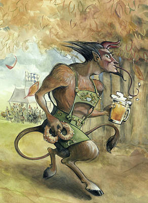 Krampus Does Octoberfest Poster by Barbara Hranilovich