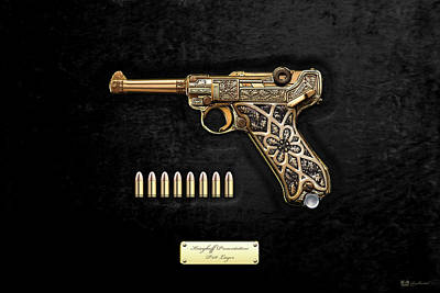 Krieghoff Presentation P.08 Luger With Ammo Over Black Velvet Poster by Serge Averbukh