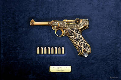 Krieghoff Presentation P.08 Luger With Ammo Over Blue Velvet  Poster by Serge Averbukh