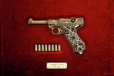 Krieghoff Presentation P.08 Luger With Ammo Over Red Velvet  Poster by Serge Averbukh