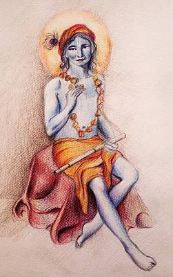 Krishna With A Flower Poster by Vera Atlantia