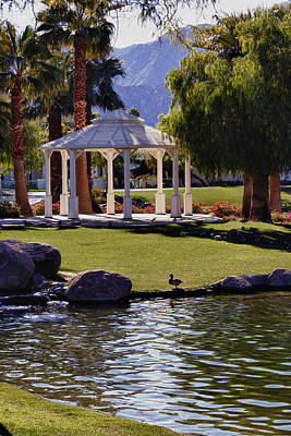 La Quinta Park Lake And Gazebo Poster by Linda Dunn