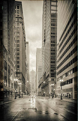 Lasalle Street Canyon With Chicago Board Of Trade Building At The South Side - Chicago Illinois Poster by Silvio Ligutti