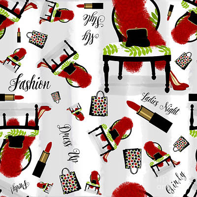 Ladies Night Out Fashion Pattern, Feather Boa, Lipstick, Shopping Poster by Tina Lavoie