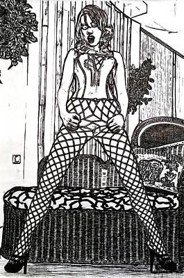 Lady In Fishnet Tights Poster by Tom Miskell