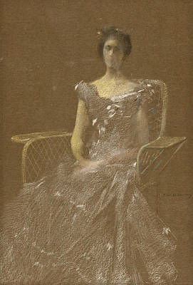 Lady In Rattan Armchair Poster by Thomas Wilmer Dewing